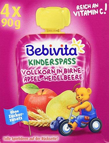 Bebivita Kinder-Spaß, Vollkorn in Birne-Apfel-Heidelbeere, 4er Pack (4 x 90 g)