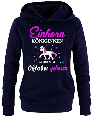 Einhorn Königinnen wurden im Oktober geboren ! Damen HOODIE Sweatshirt mit Kapuze Navy, Gr.L