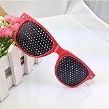 Huayang Neue Augenoptik Sehvermögen Improver Splintloch Glas Anti Müdigkeit Stenopeic Brille (Rot)