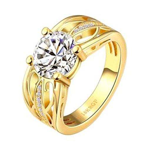 Aeici Gold Ring für Damen Modestil Pattern Hohl 4 Krallen Runden Kristall Größe 57 (18.1)