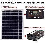 QueenHome Sistema di Generazione di Energia Solare AC 220V 1500W Pannello Solare 18V 20W Regolatore Solare Kit Inverter Sistemi Energia Solare Backup per Uso Esterno E Domestico (Senza Batteria)