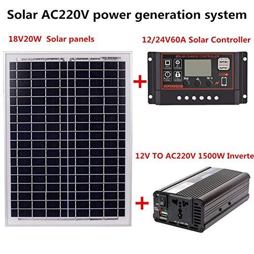 Adminitto88 AC 220 V 1500 W Solarstromerzeugungsanlage 18 V 20 W Solarpanel Solar Controller Inverter Kit Backup Solar Power Systeme Für Den Außenbereich Und Haushalt (ohne Batterie) Backup-controller
