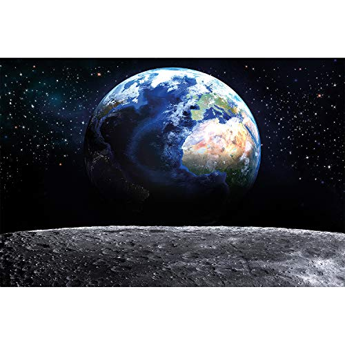 GREAT ART XXL Poster - Welt - Wandbild Dekoration Blick auf die Erde aus dem Weltall Mond Sky Planet Galaxy Universum All Kosmos Weltkugel Sterne - Fotoposter Wanddeko Bild Wandgestaltung Motiv (140 x 100 cm)