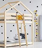 Best For Kids Hausbett Hochbett OTTA Kinderbett Kinderhaus Jugendbett Natur Haus Holz Bett in viele Größen 70x140cm-90x200cm(80x160cm)