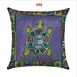 18in*18in Cushion Cover Color Sea Turtle Atlas Linen/cotton Animal Pillow Case Home Decorative Pillow Cover Seat Pillow Case (Two Pillow Cover Only)