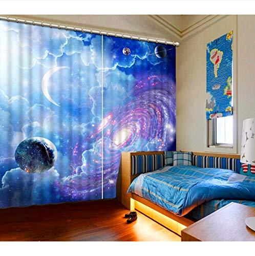 Wkjhdfgb tende oscuranti per tende fantasia cielo universo tende per camerette per bambini belle tende 3d per soggiorno camera da letto,215x200cm