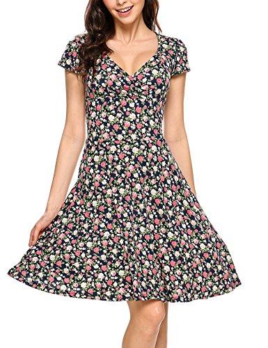 Zeagoo Damen Sommerkleider Wickelkleid Partykleid Vintage Blumen Kleid V-Ausschnitt Kurzarm Knielang...
