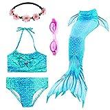 PalmTalkHome 3PCS Conjunto de Bikini de Sirena niñas Traje de Baño de la Cola con Guirnalda y Gafas de natación (140(8-10Y), GH06-Blue)