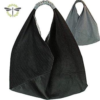 ORIGAMI-TASCHE Damen Shopper Einkaufstasche Schultertasche schwarz