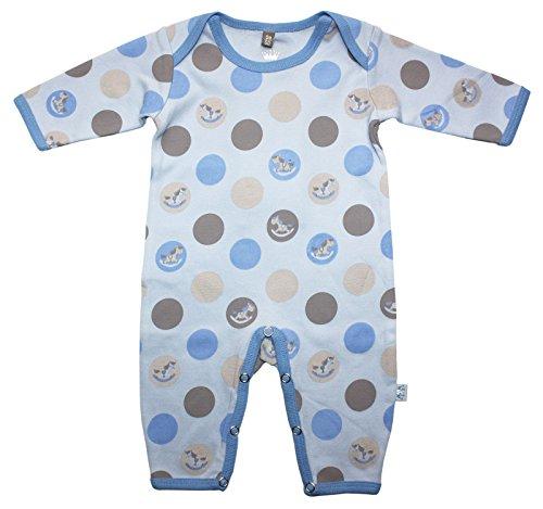 Hust & Claire - Combinaison Garçon Grenouillère pour bébé Baby Mode Einteiler Joueurs Playsuit Cheval à Bascule en Bleu - Bleu -