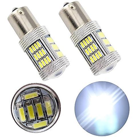 Grandview 800lúmenes P21W 1156BA15S 114154-SMD 3014chipsets lente LED bombillas intermitentes luces de freno trasera blanco 3,4W 12V (Pack de 2)
