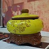 Tableau décoration cendriers sans fumée cigares exquis avec des couleurs vives,Retro de céramique rond cendrier cigarette avec couvercle, pour utilisation intérieure ou extérieure-B 17x15cm(7x6inch)