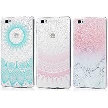 3 x Piezas Huawei P8 Lite Fundas Silicona (Version 2015/2016) KASOS TPU Case Dibujos de Totem Azul+Totem Rosa+Textura Mármol
