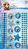 Disney Frozen, Eiskönigin Sticker Tattoo Set - 1 Bogen mit Glitzersticker aus insgesamt 119 Glitzersteinen, 10 Ornament und 6 Bordüren