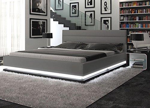 Polster-Bett 160x200 cm grau aus Kunstleder mit LED-Beleuchtung am Fuß des Bettes | Inapir | Das Kunst-Leder-Bett ist ein edles Designer-Bett | Doppel-Bett 160 cm x 200 cm in Leder-Optik, Made in EU