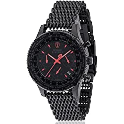 DeTomaso Men's Quartz Watch Chronograph Display and Stainless Steel Strap SM1624C-BKM