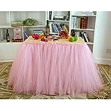Romántico de tul falda de mesa con poco flores para boda fiesta de cumpleaños, color rosa