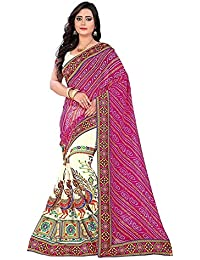 ee582df96d387 Trimurti Fashion Hub Women s Georgette Embroidery   Kutchi Work Bandhani  Saree With Blouse Piece