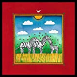 Linda Edwards Three little zebras Poster Kunstdruck Bild im Alu Rahmen in schwarz 40x40cm