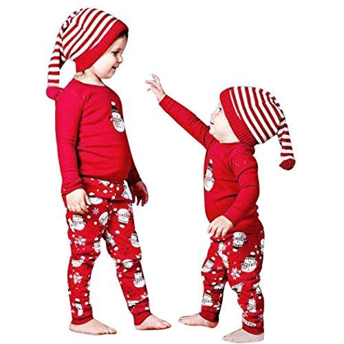 Omiky® Weihnachten Neugeborenes Kind Baby Mädchen Jungen Outfits Kleidung Print T-Shirt Tops + Hosen Set (80/12Monat, Rot)