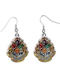 Boucles d'oreilles Harry Potter emblèmes de Poudlard longueur 4,5cm zingué bijou