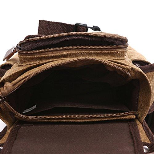 Super Modern Vintage Leinwand Tasche 6Taschen mit Reißverschluss Bauchtasche Wandern Outdoor Sport Reisen Urlaub Geld aus, Hip Tasche Running Gürtel Taille Pack coffee