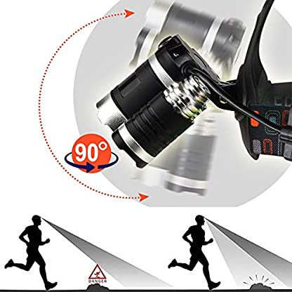 Victoper Wesho Rechargeable Headlight with 3 Lights 4 Modes, 6000 Lumen Super Bright LED Lamp, Hands-Free Flashlight Head Torch for Running, Camping, Fishing, Cycling, Hiking, Waterproof 3