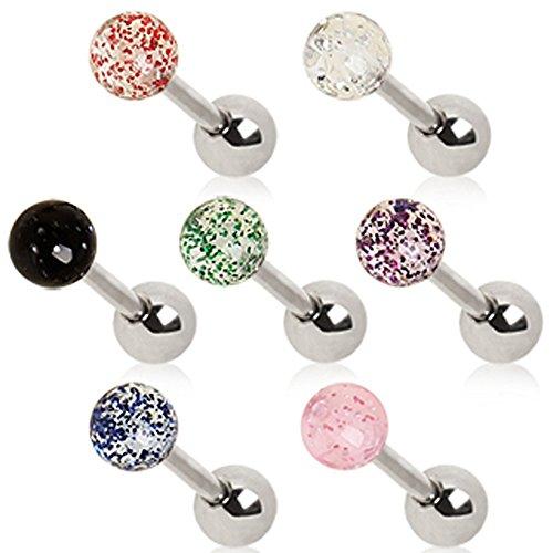 Rosa UV Metalic Glitter Ball 1,2mm x 6mm Chirurgenstahl Tragus Cartilage Ober Ear Ohrring (Glitter Kronleuchter Kit)