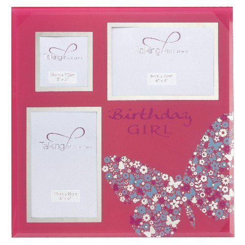 Talking Pictures, Razzle Dazzle, Shocking Pink, Birthday Girl, Collage, glass Photograph Frame. An ideal birthday gift for her (TP132BG). by Birthday gift. Gift for her.