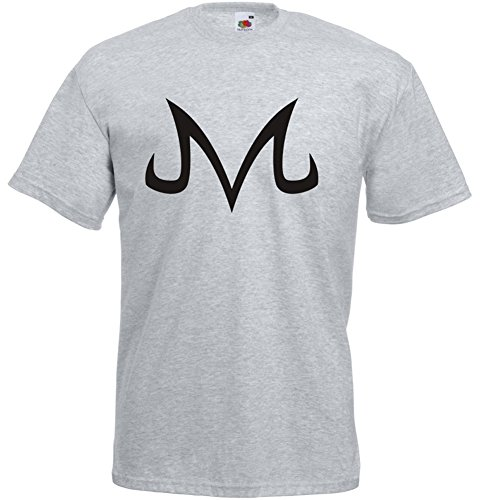 Majin Buu Corrupted symbol, Anime, Dragonball Z inspirert Mann Gedruckt T-Shirt - grau/schwarz M= 96/101 cm - Buu Shirt Majin