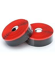 yahill® VEX Envolturas de cinta de manillar bicicleta Supersuede de gel con Bar Plugs, Black&Red (EVA+PU)