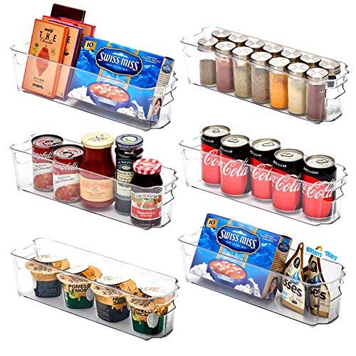 EZOWare Panier de Rangement en Plastique, Grand Bacs de Rangement, pour Frigo, Réfrigérateur, Congélateur, Cuisine, étagères, Salle de Bain - Pack de 6