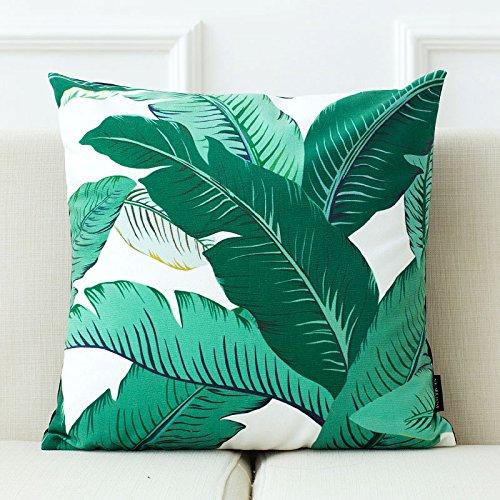 Confezione da 2fodere per cuscini verde Turtle cove Bamboo foglie verde raso cuscino di copertura del cuscino ufficio, Satin, Green Leaf H, 43 x 43 cm