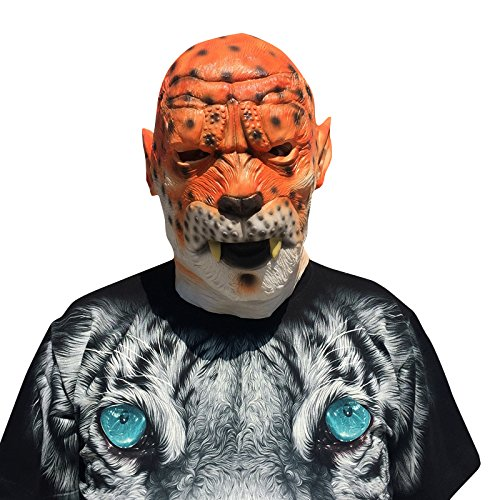 Leopard cheetah Leo Maske mask aus sehr hochwertigen Latex Material mit Öffnungen an Augen Halloween Karneval Fasching Kostüm Verkleidung für Erwachsene Männer und Frauen Damen Herren gruselig Grusel Zombie Monster Dämon Horror Party