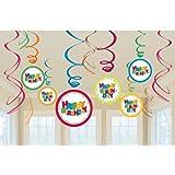 Amscan 12-Piece Swirl Decoration Value Macro Zone Boy Party Accessory