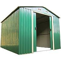 Gartenhaus Geräteschuppen 11m² aus verzinktem Stahlblech Metall grün ...