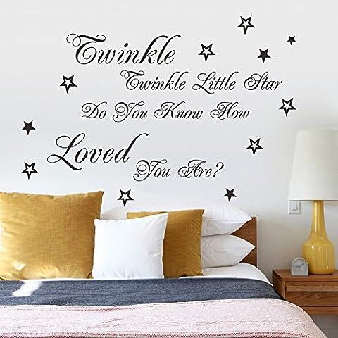 asenart Twinkle Twinkle Aserrín Star DIY PVC Papel pintado salón dormitorio adhesivo de pared Tamaño 25
