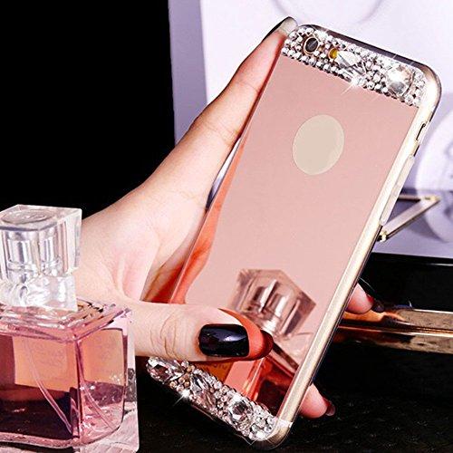 Für iPhone 7 Hülle,Für iPhone 8 Spiegel Hülle Mirror Case,Funyye Luxuriös TPU Handyhülle Gold Plating Silikon Schutzhülle Luxus Glänzend Glitzer Kristall Strass Rahmen Weich TPU Handy Tasche Ultra Dün Rose Gold