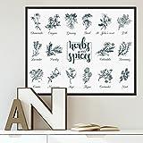 Poster mit Bilderrahmen Schwarz 'Herbs and Spices' 40x50 cm Kräuter Gewürze Küchenbild