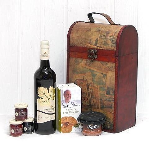Le porte-vintage vin en bois haut de gamme « Clarendon » avec du vin rouge à feuilles larges - idée cadeau pour l'anniversaire, anniversaire, En guise de remerciement