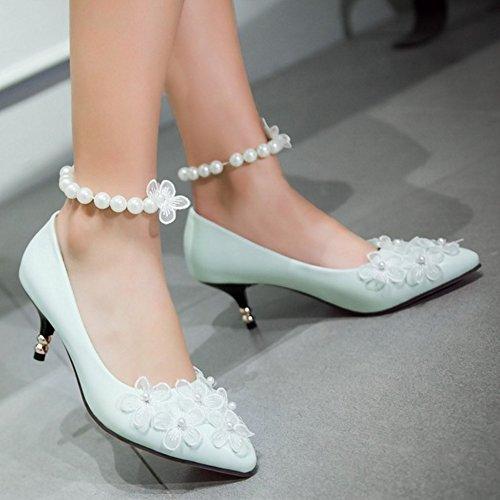 TAOFFEN Femme Elegant A Enfiler Moyen Talons Escarpins Chaussures Soiree Robe Avec Perle Bleu