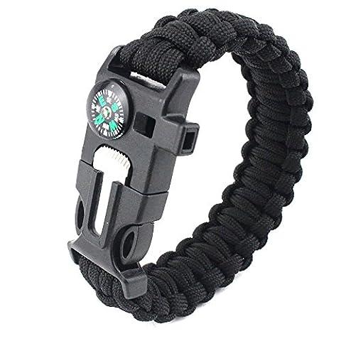 Eizur Multifunktional Survival Armband Einstellbar Paracord Armbänder Überlebens Armband Survival Gear Kit mit eingebautem Kompass, Feuerstarter, Schaber, Whistle für Wandern Camping Notfall Schwarz