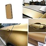 Lorcoo carbonfolie auto, 12' X 60' 3D Autofolie Carbon Vinyl Wrap, selbstklebend flexibel Car Wrapping Folie, Gold