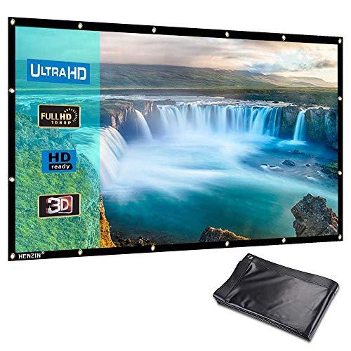 Beamer Leinwand,HENZIN 4K 3D HD 16: 9 100 Zoll Projektion Leinwand Zusammenfaltbare Beamer Screen Projektionswand Tragbare Beamerleinwand für Heimkino und Freiluftkino
