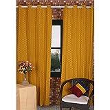 Tjori Gelb Hand-Blocked Vorhang in 100% Pure Baumwolle, Set von 2