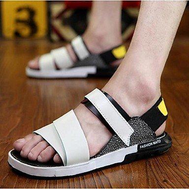 Los hombres sandalias de cuero verano Casual talón plano blanco negro azul US11 / EU44 / UK10 / CN46
