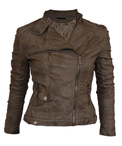 Softy Damen Lederjacke in 30 Farben Biker Style 0508 Vegan Leder, Farbe:braun, Größe:36