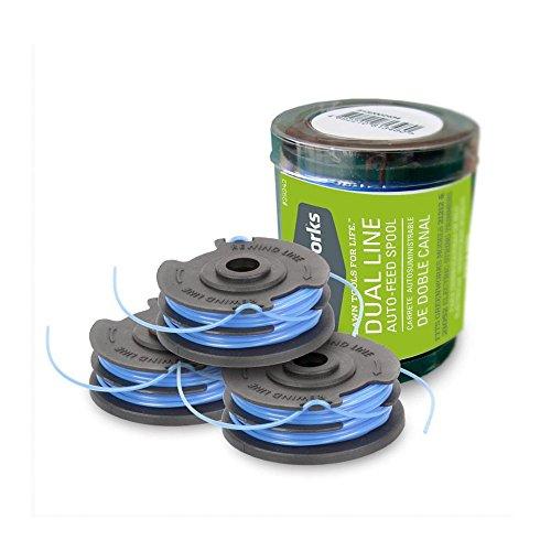 Greenworks Lot de 3 Bobines de fil pour coupe-bordure (modèles 21117, 2100107 & 2100007) 6m x 1,65mm - 29177