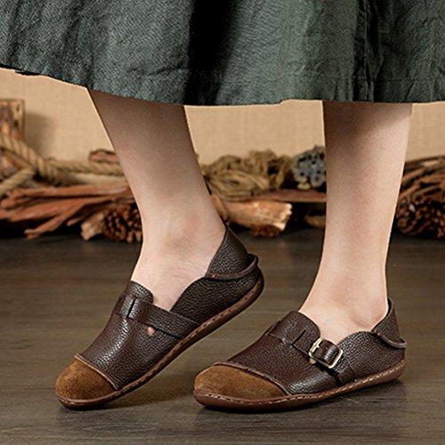 MatchLife Damen Vintage Handwork Runden Leder Flach Schuhe Braun Style3-Kaffee