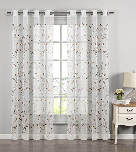 Window Elements Vorhang, gewellt Blätter, durchscheinend, Tüll, Ösen-Vorhang, Bestickt Modern (Window Covering Ideen)